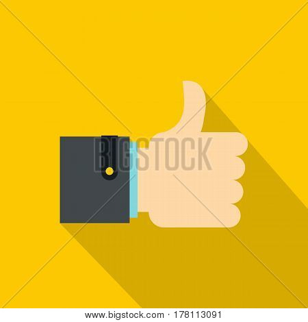 Thumb up gesture icon. Flat illustration of thumb up gesture vector icon for web isolated on yellow background