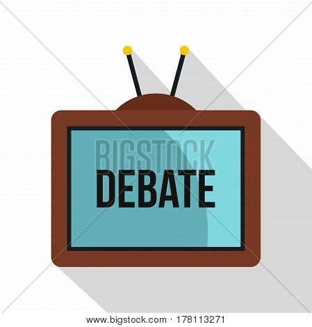 Retro TV with Debate word on the screen icon. Flat illustration of retro TV with Debate word on the screen vector icon for web isolated on white background