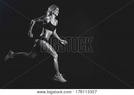 Black And White Runner woman on black