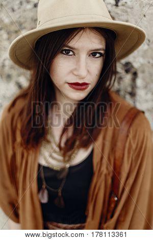 Beautiful Stylish Hipster Woman In Hat Portrait, Sensual Look. Boho Traveler Girl In Gypsy Look, Nea