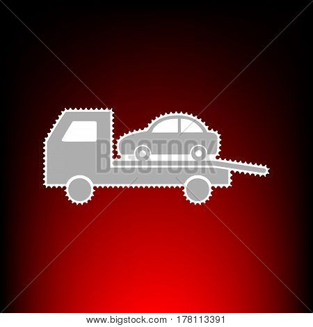 Tow car evacuation sign. Postage stamp or old photo style on red-black gradient background.
