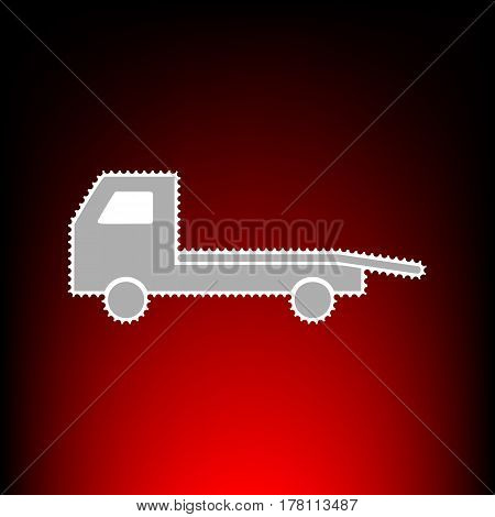 Service of evacuation sign. Wrecking car side. Car evacuator. Vehicle towing. Postage stamp or old photo style on red-black gradient background.