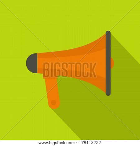Orange loudspeaker icon. Flat illustration of orange loudspeaker vector icon for web isolated on lime background