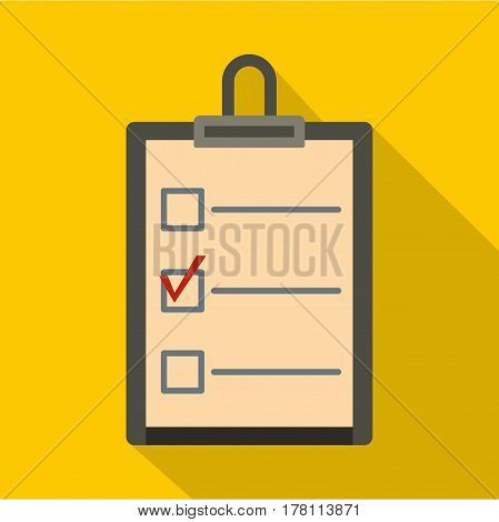 Checklist with box and red mark icon. Flat illustration of checklist with box and red mark vector icon for web isolated on yellow background