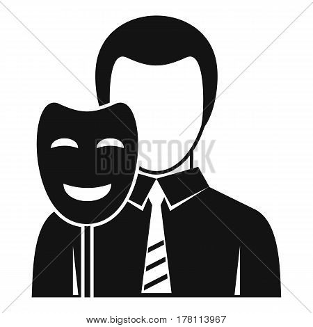 Businessman holding smile mask icon. Simple illustration of businessman holding smile mask vector icon for web