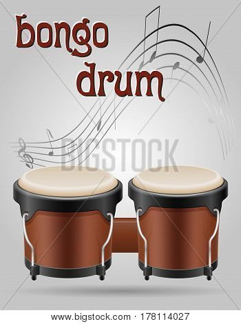 bongo drums musical instruments stock vector illustration isolated on gray background
