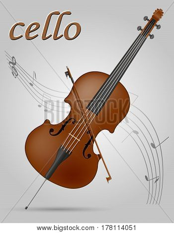 cello musical instruments stock vector illustration isolated on gray background