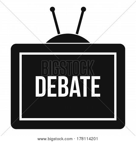 TV with the Debate inscription on the screen icon. Simple illustration of TV with the Debate inscription vector icon for web