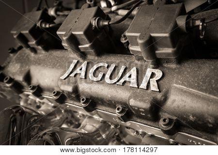 WEYBRIDGE SURREY UK - AUGUST 9 2015: Close up black and white Classic Jaguar Car enigine on display at Brooklands Motor Museum in 2015.