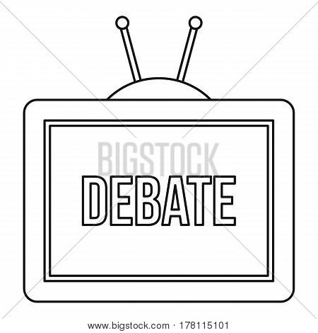 TV Debate icon. Outline illustration of TV Debate vector icon for web