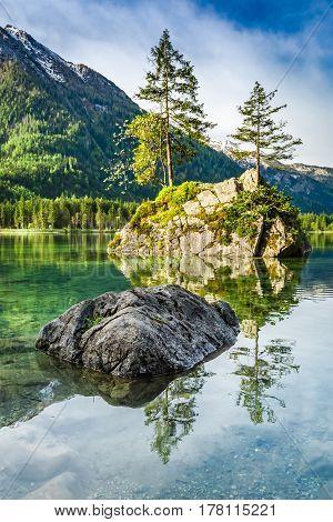 Summer Dawn At Hintersee Lake In Alps, Germany, Europe