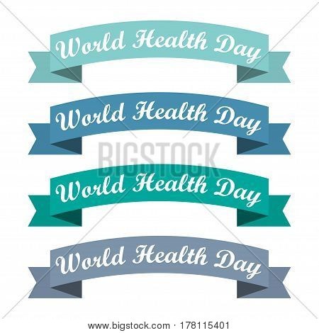 Set of ribbons with World Health Day. Vector illustration