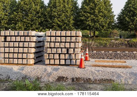 a stack of railroad ties for the new high speed rail line