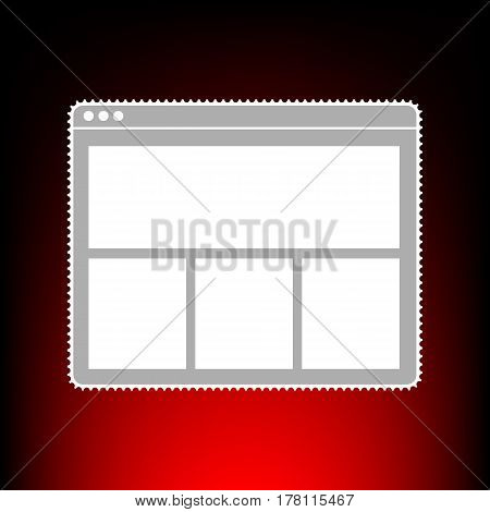 Web window sign. Postage stamp or old photo style on red-black gradient background.