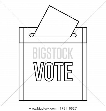 Vote box icon. Outline illustration of vote box vector icon for web