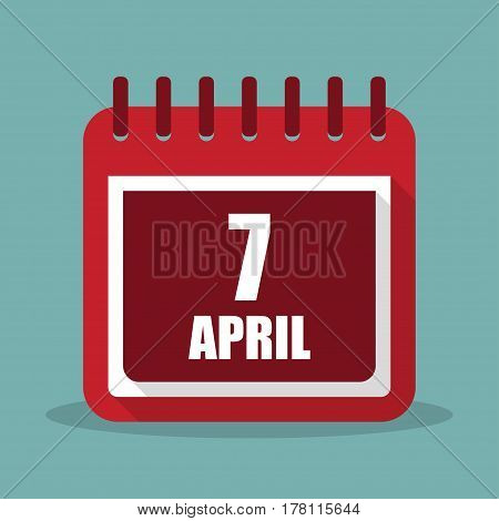 Calendar with 7 april in a flat design. Vector illustration