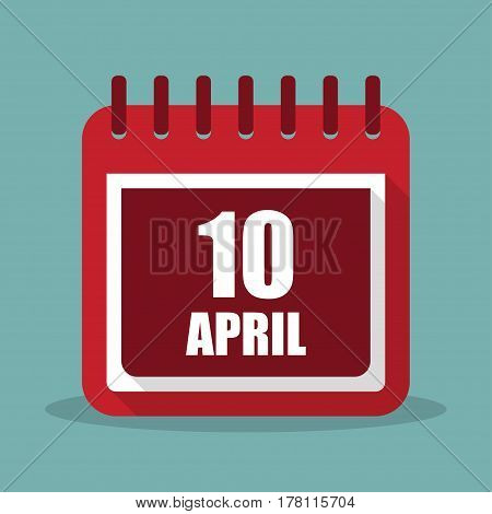 Calendar with 10 april in a flat design. Vector illustration