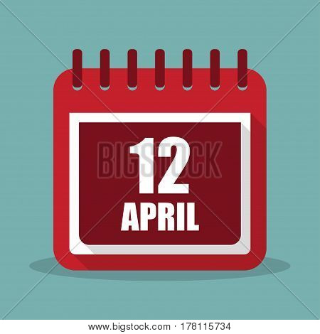 Calendar with 12 april in a flat design. Vector illustration