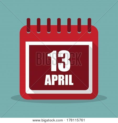 Calendar with 13 april in a flat design. Vector illustration