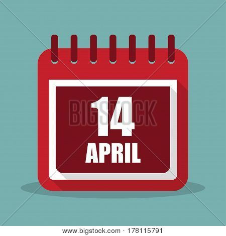 Calendar with 14 april in a flat design. Vector illustration