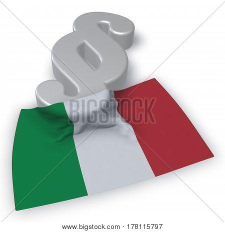 paragraph symbol in italian colors - 3d rendering
