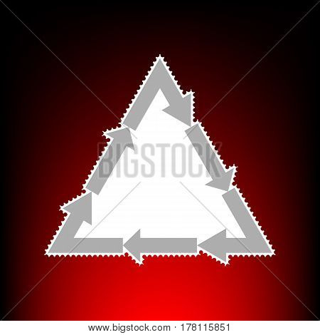 Plastic recycling symbol PVC 3 , Plastic recycling code PVC 3. Postage stamp or old photo style on red-black gradient background.