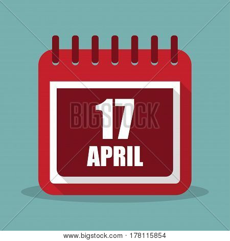 Calendar with 17 april in a flat design. Vector illustration