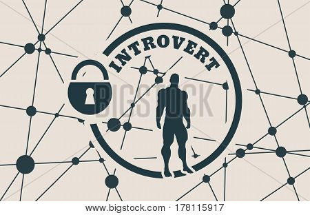 introvert simple icon metaphor. image relative to human psychology. muscular man in the locked circle. Molecule And Communication Background. Connected lines with dots.