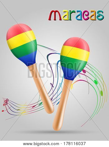 maracas musical instruments stock vector illustration isolated on gray background