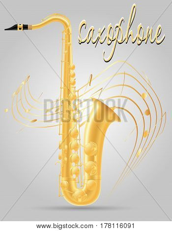 saxophone wind musical instruments stock vector illustration isolated on gray background
