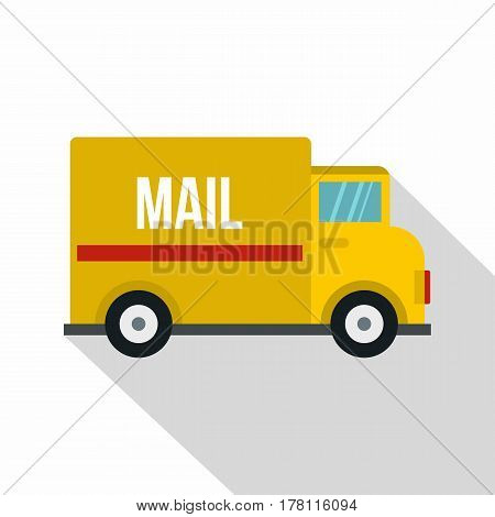 Yellow mail truck icon. Flat illustration of yellow mail truck vector icon for web isolated on white background