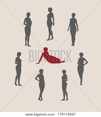 Sexy women silhouettes collection. Fashion mannequin. Vector Illustration