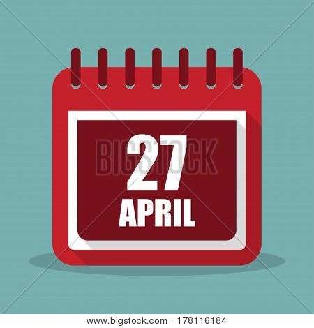 Calendar with 27 april in a flat design. Vector illustration
