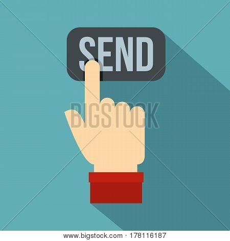 Send button and hand icon. Flat illustration of send button and hand vector icon for web isolated on baby blue background