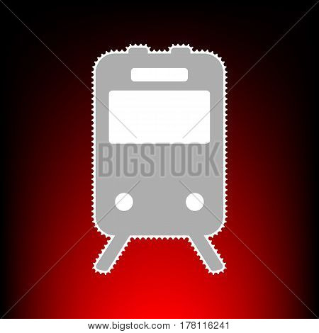Train sign. Postage stamp or old photo style on red-black gradient background.