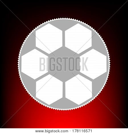 Soccer ball sign. Postage stamp or old photo style on red-black gradient background.
