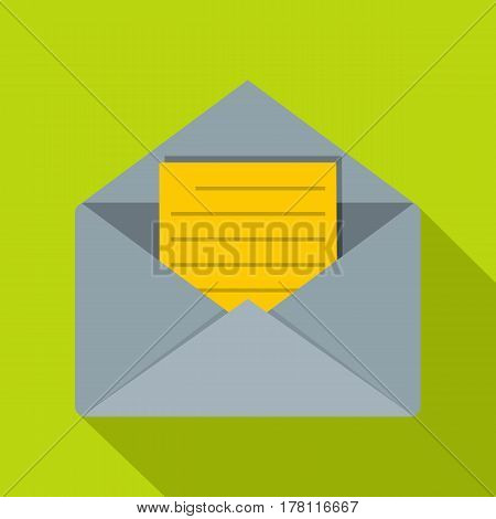 Open envelope with lined sheet of paper icon. Flat illustration of open envelope with lined sheet of paper vector icon for web isolated on lime background