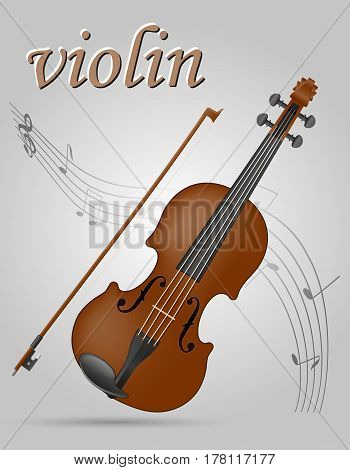 violin musical instruments stock vector illustration isolated on gray background