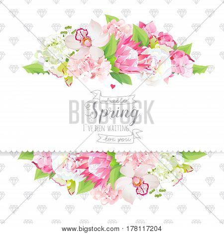 White peony, protea, pink hydrangea, orchid flowers and spring green leaves horizontal vector design card. Stylish grey diamonds texture background. All elements are isolated and editable.