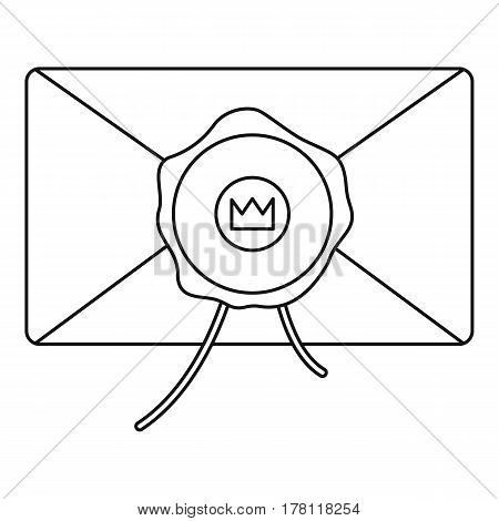 Envelope with wax stamp icon. Outline illustration of envelope with wax stamp vector icon for web