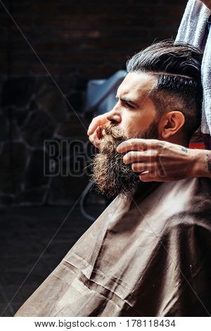 Bearded Man Getting Long Beard Styling