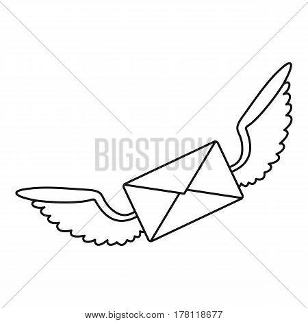 Winged mail envelope icon. Outline illustration of winged mail envelope vector icon for web