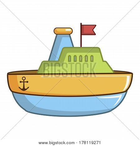 Colorful toy ship icon. Cartoon illustration of colorful toy ship vector icon for web