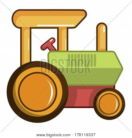 Colorful tractor toy icon. Cartoon illustration of colorful tractor toy vector icon for web
