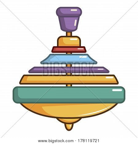 Colorful spinning top icon. Cartoon illustration of colorful spinning top vector icon for web