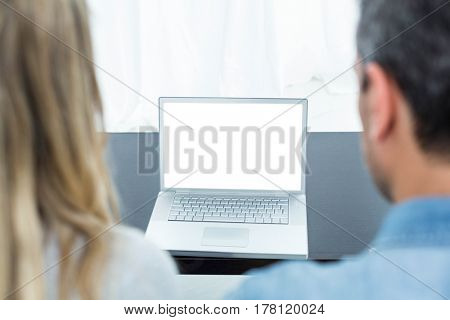 Couple sitting on sofa and using laptop in living room