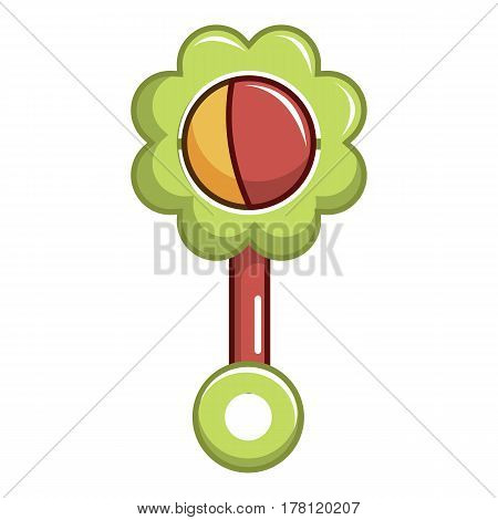 Colorful baby rattle icon. Cartoon illustration of colorful baby rattle vector icon for web