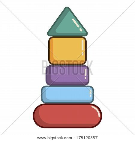Colorful pyramid toy icon. Cartoon illustration of colorful pyramid toy vector icon for web