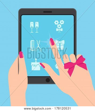 Hand holing smartphone, touching screen. Hand of woman hold tablet and pointing on screen. Choose concept
