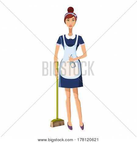 Woman with brush icon. Cartoon illustration of woman with brush vector icon for web